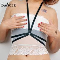 spandex fetish - 2015New Cage Bra fashionable Harajuku Gothic harness sexy geometric black Sexy lingerie spandex harness for lady Fetish