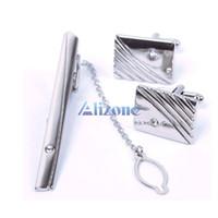 Wholesale Jewelry Man Metal Necktie Tie Bar Clasp Clip Cufflinks Set Silver Simple Gift
