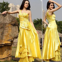 Wholesale 2012 new hot one shoulder sexy exquisite appliqued yellow sheath Preferred Celebrity Dresses274