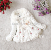 baby winter clothes - Children Outerwear New Girls Fur Coat Faux Fall Winter Fashion Princess Flower Lace Baby Kids Jacket Clothes