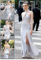 Wholesale 2012 modern fashion new arrival sheath halter backless appliqued beaded sexy Celebrity Dresses