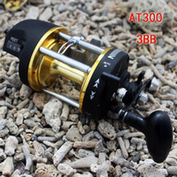 ball bearing casters - Fishing Baitcasting Reel Bait Caster AT300 BB Ball Bearing For Salt Water Standard Fishing Aluminium Spool High Speed