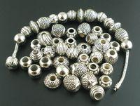 Wholesale Mixed Antique Silver Acrylic Beads Spacers Beads Fit Pandora Bracelet European Charm B00211x2
