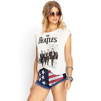 beatles photos free - European Style The Beatles Band Photo Printed Round Collar Women Cotton Tank Top D527