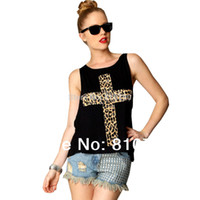bandeau shirts - Fashion Women s Short Leopard Cross Design Tops O Neck T Shirt Loose Relaxed Fit Sleeveless Casual Shirt Vest With Black Bandeau