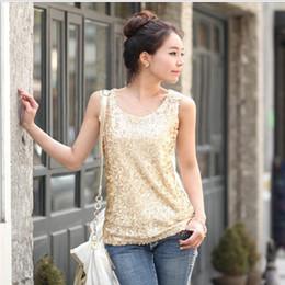 S-5XL New 2015 Women's Tops Fashion Loose Paillette Tops Plus Size Decorative Sequins Tank Tops 2 Colors