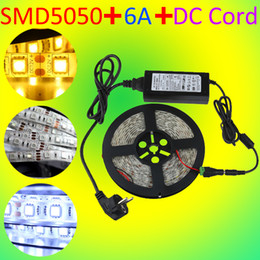 5M LED Strip Light 5050 Flexible Cuttable Non Waterproof Warm Cool White + Power Adapter + DC Cord Home Room Foyer Kitchen Decor
