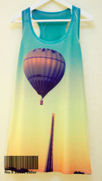 Wholesale Track Ship Hot Summer Fresh Printed Vest Top Tank Camis Simple Fire Hot air Balloon on Building