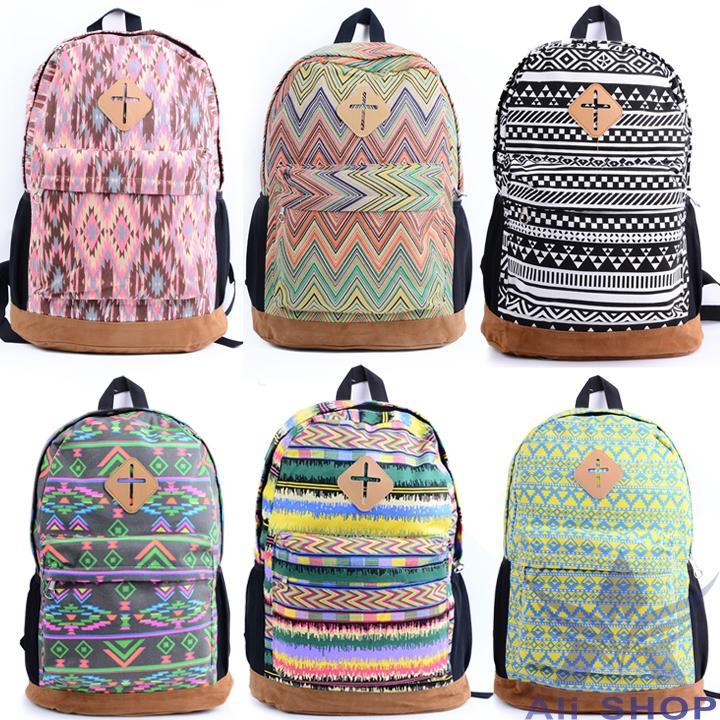 New School Canvas Backpack Female Shoulder Bags Travel Hiking ...