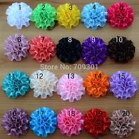 "Cheap 2.0"" Handmade Satin rose satin rosette flower for baby headband 20 colors free shiping"