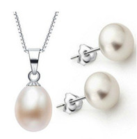 Wholesale HOT CHEAP SALE Silver Fashion Freshwater Pearl Pendant Stud Pearl Earrings with S925 Silver Chain Set Jewelry Party Gift