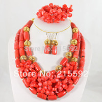Wholesale Luxury Nigerian African Wedding Bead Set Coral Beads Jewelry Set Necklace Bracelet Earrings CJ013