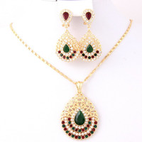 Cheap Wholesale-High Quality 18K Gold Plated Rhinestone Crystal Turquoise Pendant Wedding Sets Party Elegant Bridal Jewellery Sets Costumes