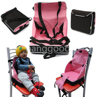 baby travel high chair - Portable Baby Booster Seat Chair Child Car Safety Seats Travel High Chair Foldable Light Weight Harness for Pink