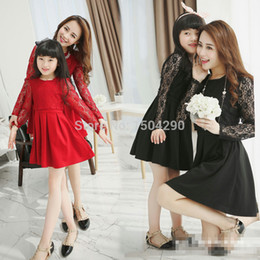 Wholesale 2015 Korean family fashion matching mother daughter clothes red black color long lace sleeve lace cover mom and daughter dress