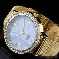 Cheap Women Elegant Crystal Roman Numerals Golden Plated Metal Mesh Band Wrist Watch 1SDK