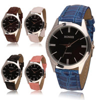 Wholesale Cheap Chronograph Watches Women - 2015 Arrival 5 Colors Women Men fashion Simple Cheap metal Analog Quartz Wrist Watch PU Leather Strap High Quanlity Wholesale