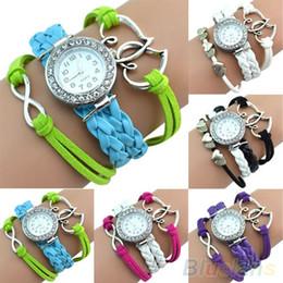Descuento cuero reloj pulsera corazón Brazalete doble del encanto del corazón de múltiples capas brazalete pulsera Reloj de pulsera de reloj de cuero 1LXP