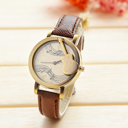 Wholesale High Quality New Style Vine Wristwatches Brand Geinune Leather Quartz Watches Guitar Musical Notes Women Watches Dress Watch