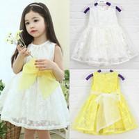 Cheap Free Shipping 2015 Girl Children birthday dress Kids Girls Princess dresses Big bowknot Baby dress for summer