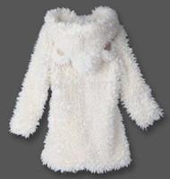 Wholesale Women Winter Coat Fake Lamb Fur Jacket Long Style Hooded Outerwear Coat With Ears Cute Coat NBA268