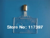 badge holders hard plastic - Transparent Horizontal Vertical Hard Plastic ID Badge Pass Holder with clip