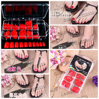 acrylic nails feet - BOX PC colors False Nail Art Tips Toe Fake Feet Nails With Box nail art patch toe nail tips multicolour g glue RE20