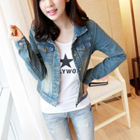 Cheap Women Distressed Rip Denim Jacket Cropped Button Coat Jean Top Washed Faded Blue