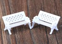 fairy furniture - Mini Bench Chair White Dollhouse Furniture Gnome Fairy Mini World Decoration Garden Furniture DIY Terrarium Accessories