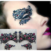 ballroom masks - Fashion Colorful Rhinestone Black Hollow Lace Brow Lace Eyes Mask Eyelashes Stickers For Ballroom Theme Party