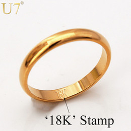 "Gold Rings With ""18K"" Stamp Quality Real Gold Plated Women Men Jewelry Wholesale Free Shipping Classic Wedding Band Rings R302"