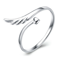 wing mirror - sterling silver rings angel wings high end mirror surface heart woman open design classic jewelry