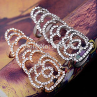 beautiful ring tones - New Beautiful Fashion Silver Gold Tone Flower Rhinestone Joint Armor Knuckle Crystal Ring Women Jewelry Free Ship