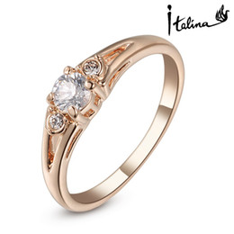 Italina Rigant 18K Rose Gold Plated Genuine Austrian Engagement Ring With Austrian Crystal Stellux Cubic Zirconia #RG90671