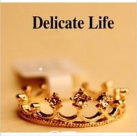 Wholesale Mini order new Korean jewelry retro female personality flash Fangzuan Crown Ring CRD18