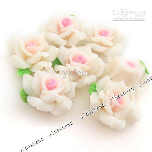 60x white flower fimo polymer charms beads