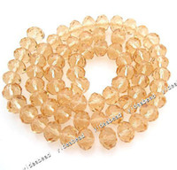 faceted rondelle beads - 140 Gold Crystal Glass Faceted Rondelle Bead Faceted Crystal Beads Fit Diy Bead mm