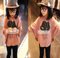 Wholesale High quality low price fashion design cotton girls loose hoodies clothes bat sleeve clothes