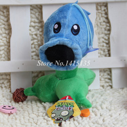 Wholesale-17cm Plant Vs Zombies Snow Pea Shooter Toy Stuffed Soft Plush Animals Doll Cartoon 6.6inch PVZ Game PP Cotton Cupula Bouquets
