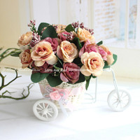 al por mayor té tipos de flores-34 tipos! La sede artificial de la margarita / Tea Party Rose + triciclo de la rota la cesta del almacenaje del florero Conjunto decorativo del hogar Decoración de la boda
