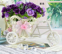 bicycle wicker - plastic rattan wicker bicycle vase include flowers wedding home decoration bandwagon artificial flower