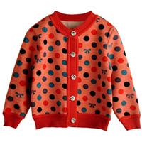 baby knitwear patterns - Retail Baby Cardigan Sweater for Girls Cotton Loose Plus Velvet Warm Knitted Sweater Dots Pattern Knitwear New Baby Wear