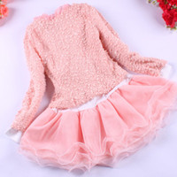 Wholesale New Spring amp Autumn Girls Dress Clothing Set Baby Kids Long Sleeve Lace Two Piece Cute Flower Pearl Suits