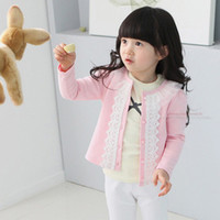 Wholesale NEW Spring autumn breasted embroidery lace girls coat child long sleeve o neckT shirt jacket child outerwear children clothing