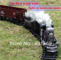 Wholesale Deluxe Train Set Toy for Children Long Rail Electric Slot Car with Lights and Music Can Smoke