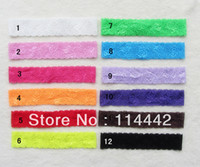 "Fashion Acetate Animal 50pcs  lot 12 colors 1.5"" Elastic Lace Hair Band Headband for Baby Girls DIY Hairband Hair Accessories acessorios para cabelo"