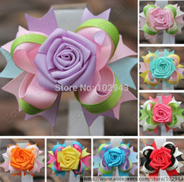 Wholesale 2pcs retailing quot Medium Adorable Blooming Rose Flower Stacked Bow Hair Girl Boutique hair Bow clips