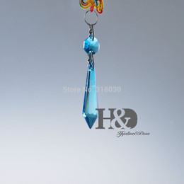 Wholesale 10 lake blue Chandelier Glass Crystals Lamp Prisms Parts Hanging Wedding Drop Pendant paperweight Hot