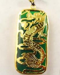 wholesale Superb 18KGP dragon Green Jade Men's women pendant and necklace