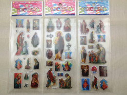 Wholesale Catholic stickers Virgin Mary Heart of Jesus Cross Holy family icon mobile phone bubble sticker First communion Religious gifts